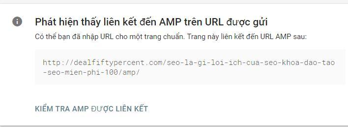Trang web có trang AMP hợp lệ