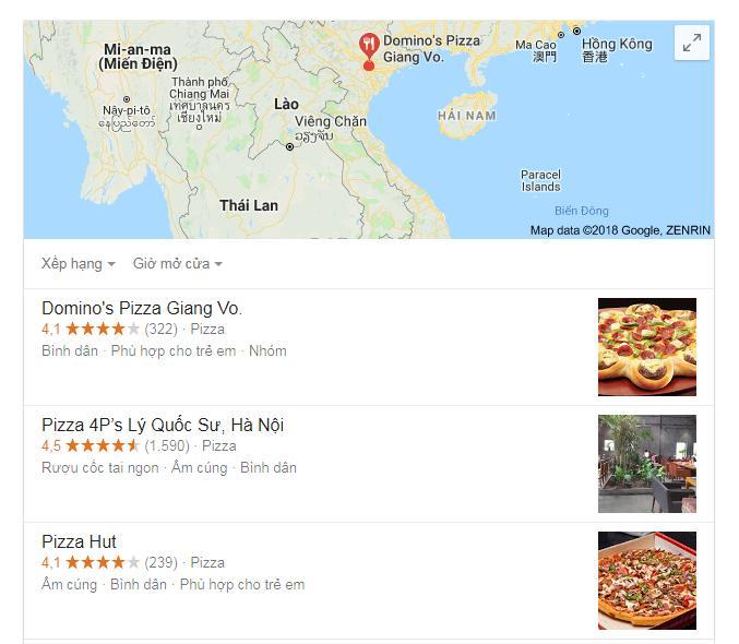 Google map các điểm bán Pizza tại Hà Nôi