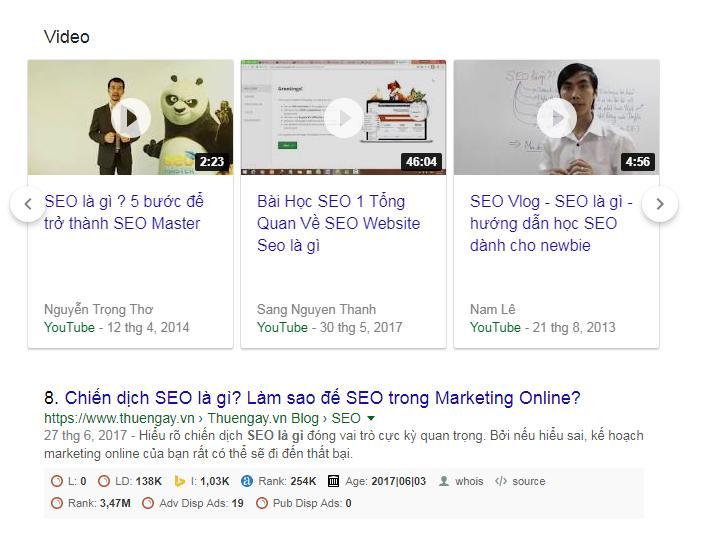 Một mẫu slider video trên trang kết quả tìm kiếm Google